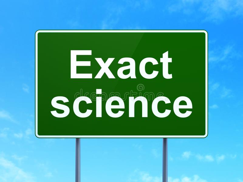 Science concept: Exact Science on road sign background. Science concept: Exact Science on green road highway sign, clear blue sky background, 3D rendering royalty free illustration