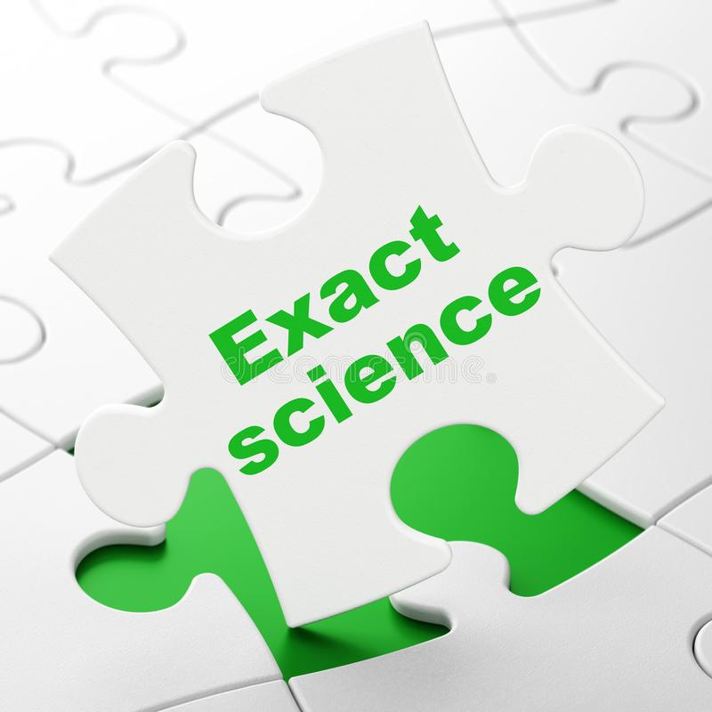 Science concept: Exact Science on puzzle background. Science concept: Exact Science on White puzzle pieces background, 3D rendering stock illustration