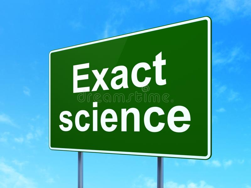 Science concept: Exact Science on road sign background. Science concept: Exact Science on green road highway sign, clear blue sky background, 3D rendering vector illustration