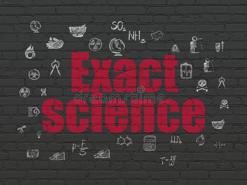 Science concept: Exact Science on wall background. Science concept: Painted red text Exact Science on Black Brick wall background with Hand Drawn Science Icons stock illustration