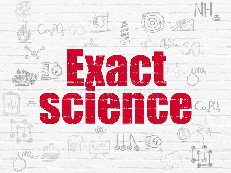 Science concept: Exact Science on wall background. Science concept: Painted red text Exact Science on White Brick wall background with Scheme Of Hand Drawn vector illustration