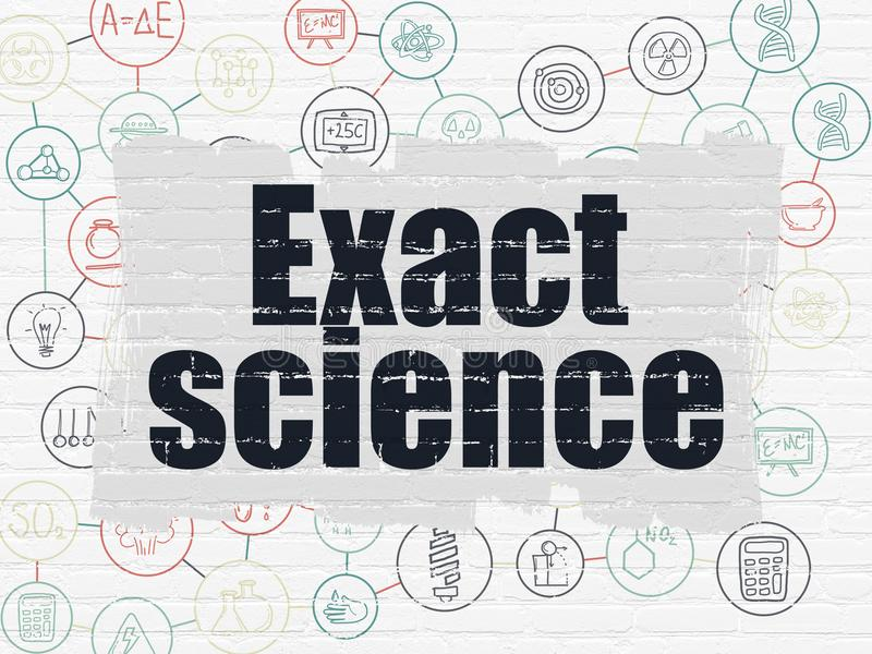 Science concept: Exact Science on wall background. Science concept: Painted black text Exact Science on White Brick wall background with Scheme Of Hand Drawn royalty free illustration
