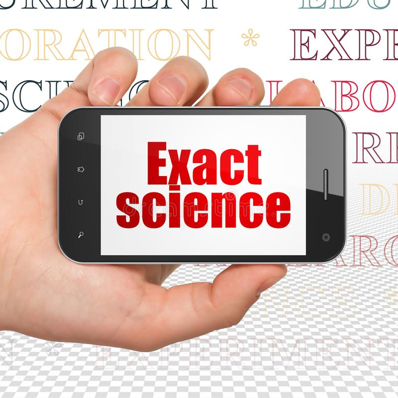 Science concept: Hand Holding Smartphone with Exact Science on display. Science concept: Hand Holding Smartphone with red text Exact Science on display, Tag royalty free illustration