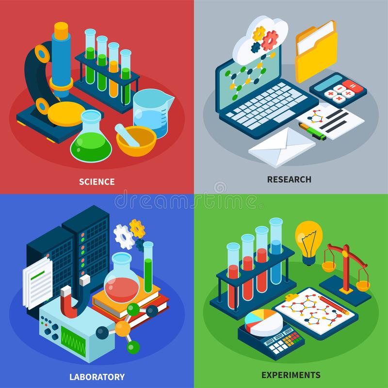 Science Isometric Concept Icons Set royalty free illustration