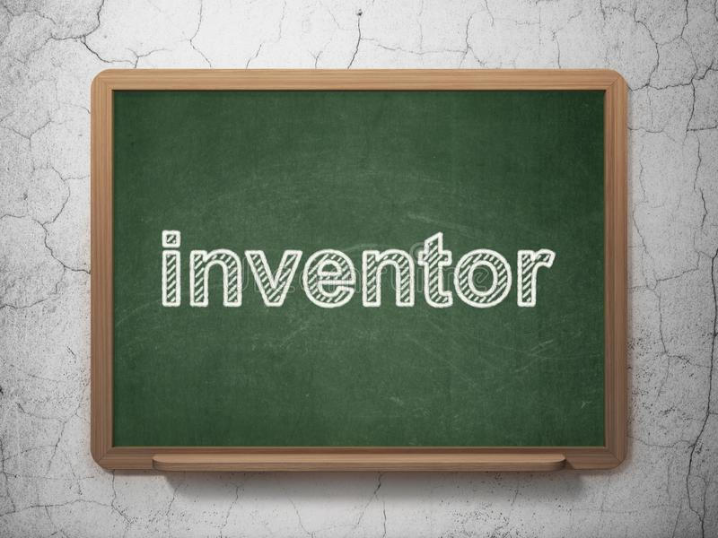 Science concept: Inventor on chalkboard background. Science concept: text Inventor on Green chalkboard on grunge wall background, 3D rendering stock illustration
