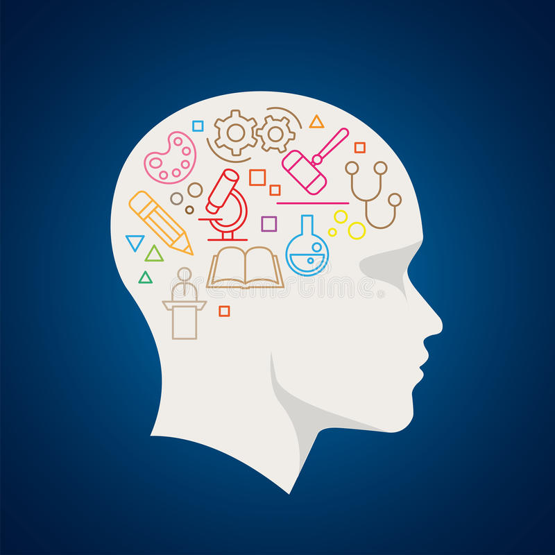 Science Concept Line Icon In The Head vector illustration