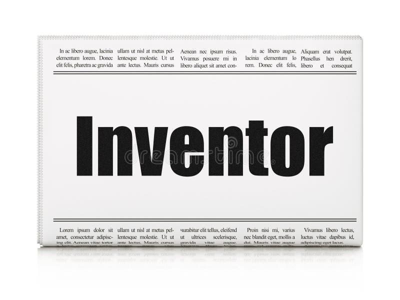 Science concept: newspaper headline Inventor. On White background, 3D rendering stock illustration