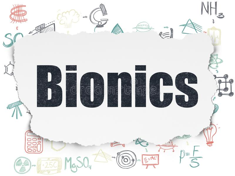 Science concept: Bionics on Torn Paper background. Science concept: Painted black text Bionics on Torn Paper background with Scheme Of Hand Drawn Science Icons vector illustration