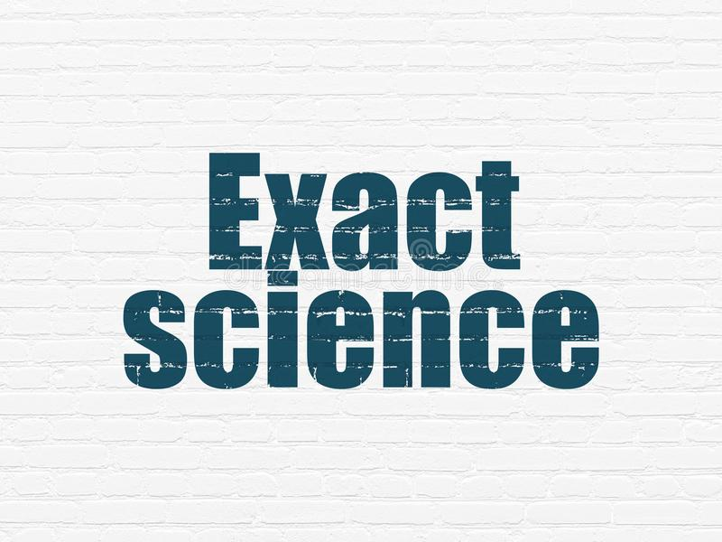Science concept: Exact Science on wall background. Science concept: Painted blue text Exact Science on White Brick wall background stock illustration
