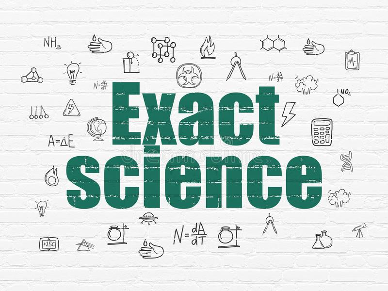 Science concept: Exact Science on wall background. Science concept: Painted green text Exact Science on White Brick wall background with Hand Drawn Science Icons vector illustration