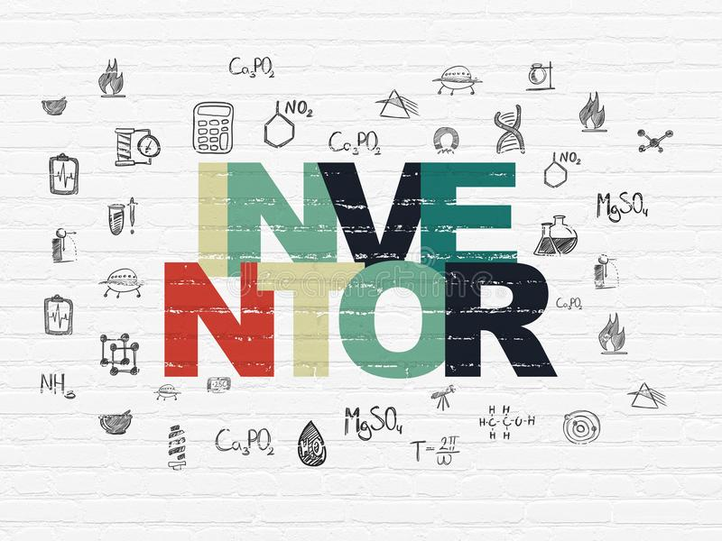 Science concept: Inventor on wall background. Science concept: Painted multicolor text Inventor on White Brick wall background with Hand Drawn Science Icons stock illustration
