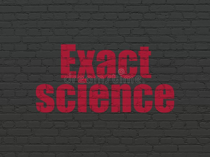 Science concept: Exact Science on wall background. Science concept: Painted red text Exact Science on Black Brick wall background vector illustration