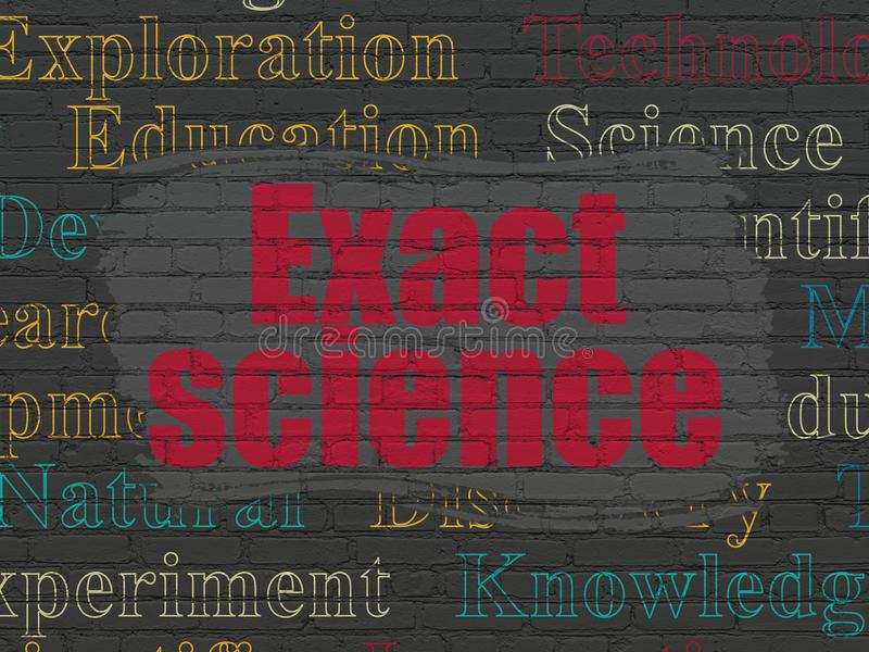 Science concept: Exact Science on wall background. Science concept: Painted red text Exact Science on Black Brick wall background with Tag Cloud royalty free illustration