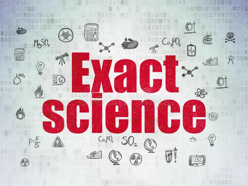 Science concept: Exact Science on Digital Data Paper background. Science concept: Painted red text Exact Science on Digital Data Paper background with Hand Drawn royalty free illustration
