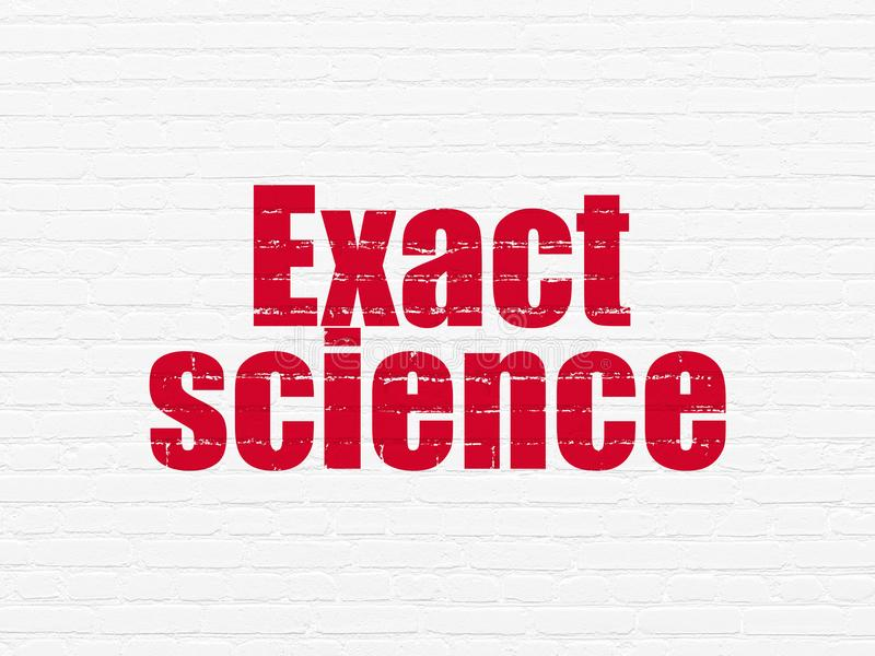 Science concept: Exact Science on wall background. Science concept: Painted red text Exact Science on White Brick wall background stock illustration