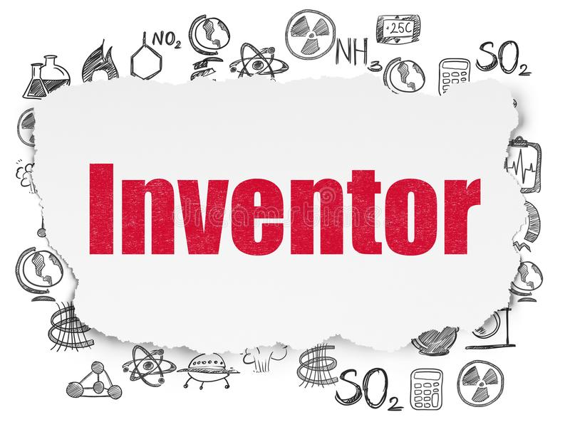 Science concept: Inventor on Torn Paper background. Science concept: Painted red text Inventor on Torn Paper background with Hand Drawn Science Icons vector illustration