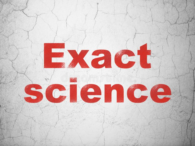Science concept: Exact Science on wall background. Science concept: Red Exact Science on textured concrete wall background stock illustration
