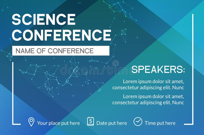 Science conference business design template. Science brochure flyer marketing advertising meeting royalty free illustration