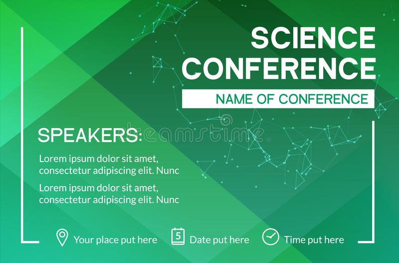 Science conference business design template. Science brochure flyer marketing advertising meeting vector illustration