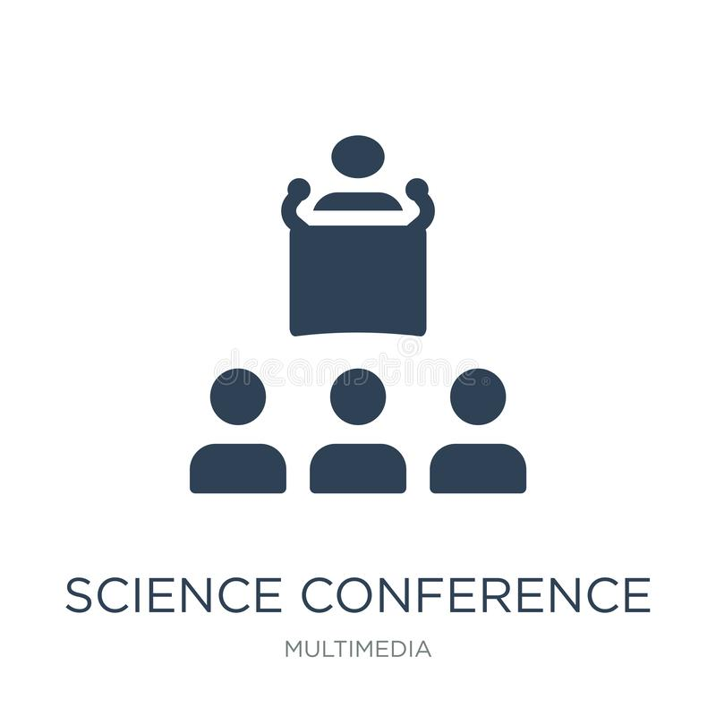 Science conference icon in trendy design style. science conference icon isolated on white background. science conference vector. Icon simple and modern flat stock illustration