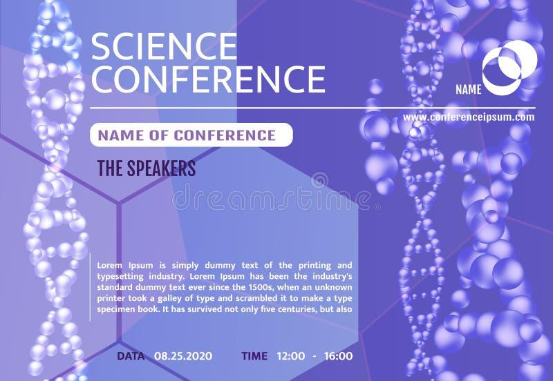 Science conference invitation concept. Advertising of scientific seminar. vector illustration