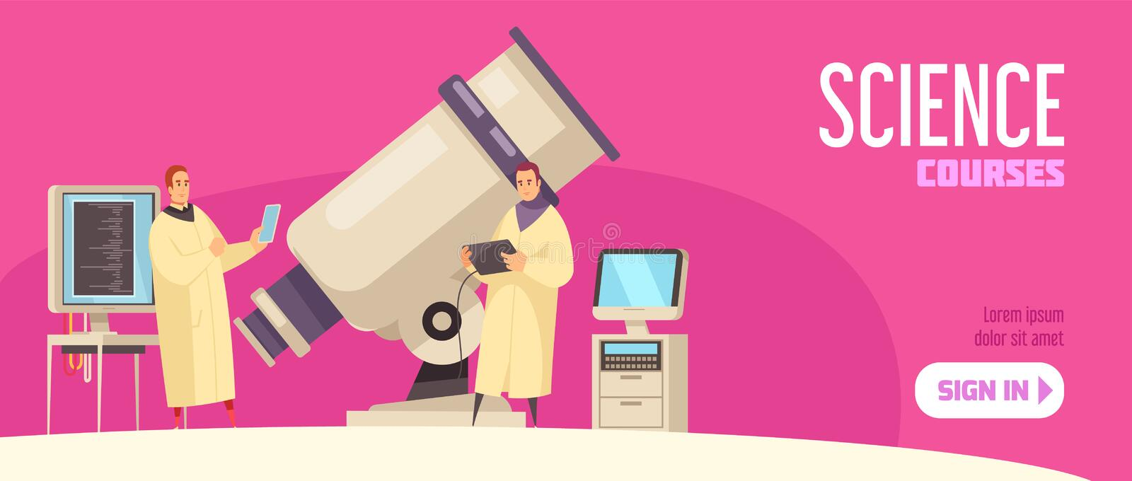Science Courses Horizontal Banner vector illustration