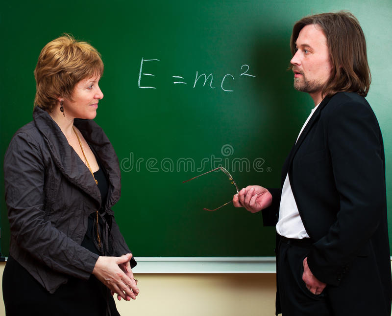 Science discussion stock photo