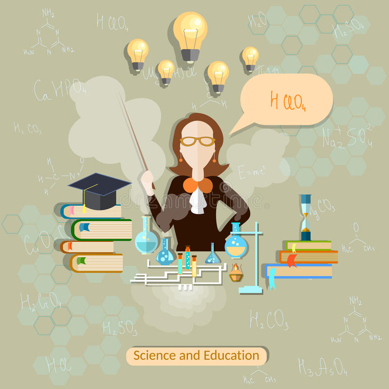 Science and education, chemistry teacher, woman scientist vector illustration