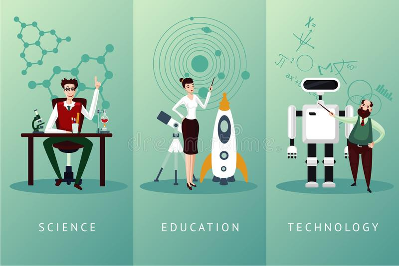 Scientist vector cartoon characters set. Science and education concept. Technology backgrounds collection. stock illustration