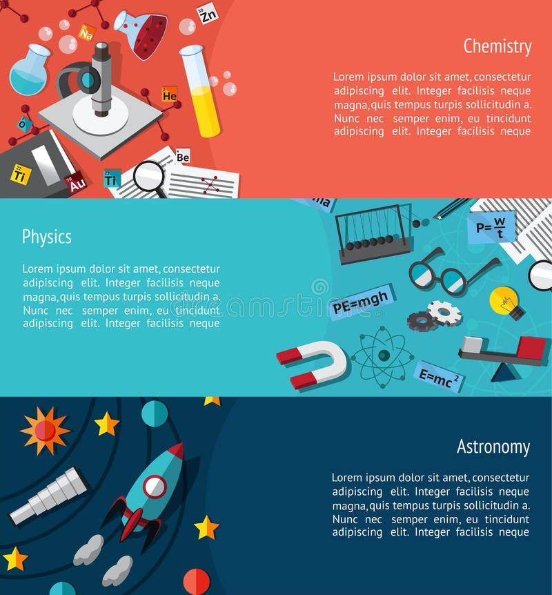 Science education infographic banner template layout such as physics, chemistry and astonomy background website page. Science education infographic banner vector illustration