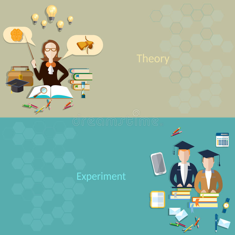 Science and education: students for learning, teacher, vector banners stock illustration