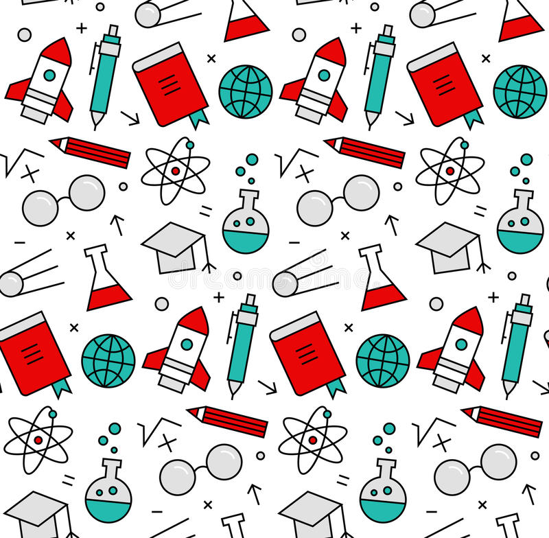 Science elements seamless icons pattern royalty free illustration