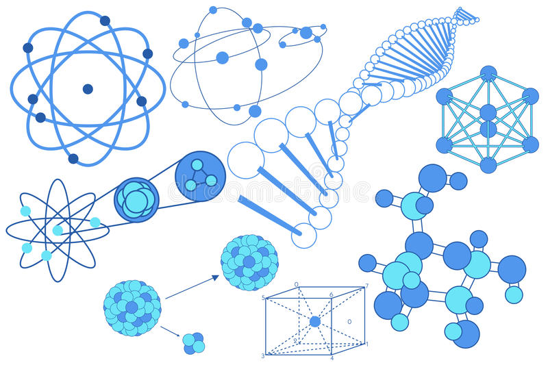 Science elements, symbols and schemes stock illustration
