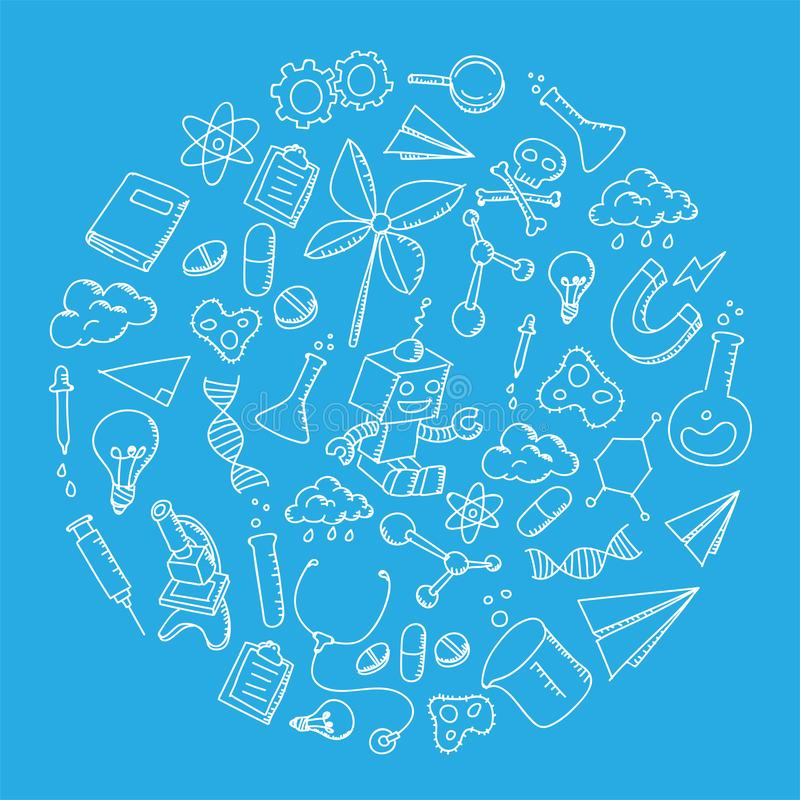 Science Equipment kids hand drawing set pattern background circle shape illustration isolated on blue color. Background stock illustration