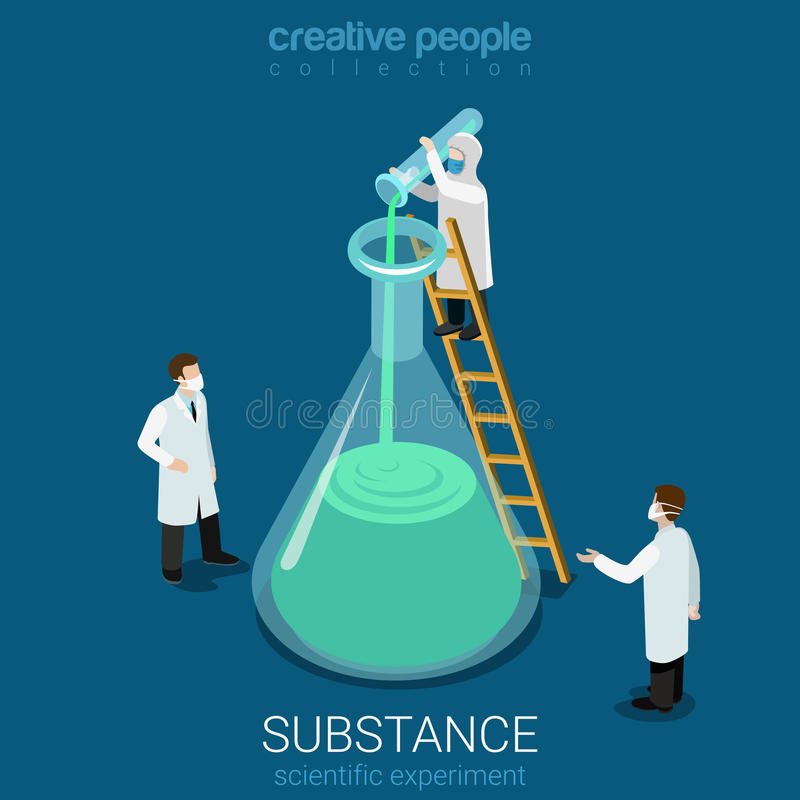Science experiment new substance lab flat vector isometric 3d stock illustration