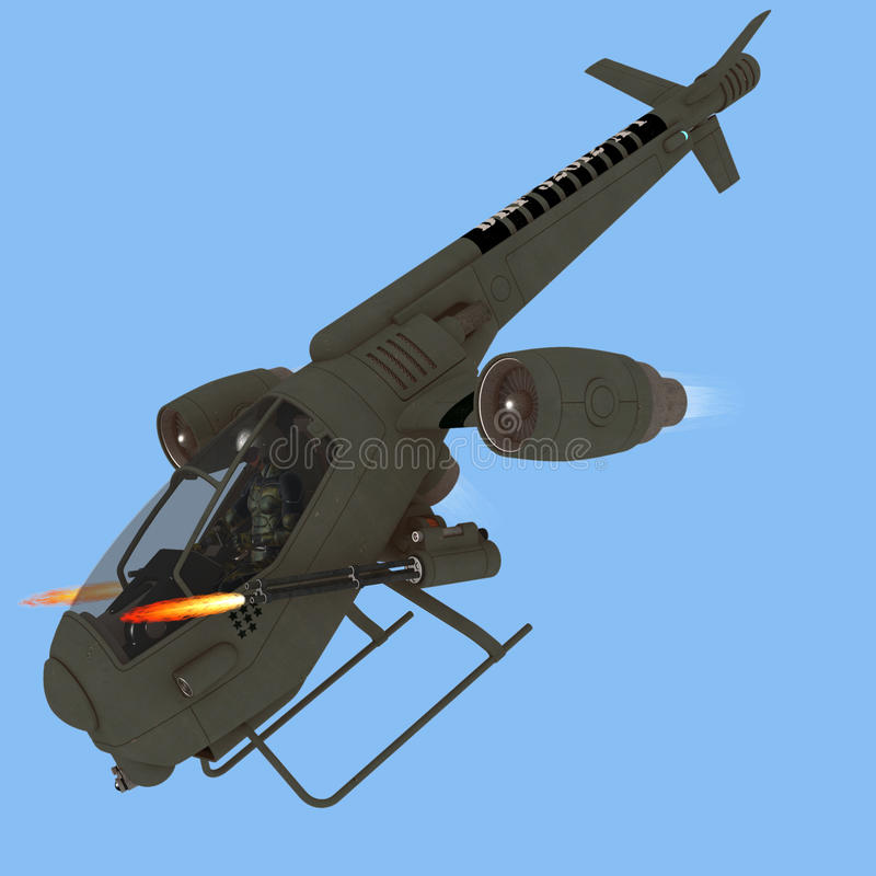 Science fiction attack aircraft. Futuristic helicopter like aircraft with swivel jet engines allowing vertical takeoff and landing firing twin Gatling guns stock illustration