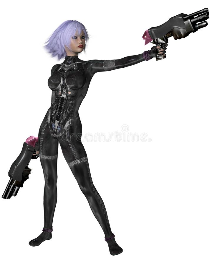 Science Fiction Catsuit Girl Shooting stock illustration