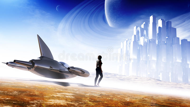 Science Fiction Concept Art. Science fiction cover / concept artwork with lots of elements. A single-seater sleek jet type of craft, a female character who is in vector illustration