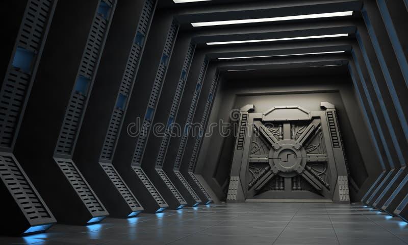 Science fiction corridor stock illustration