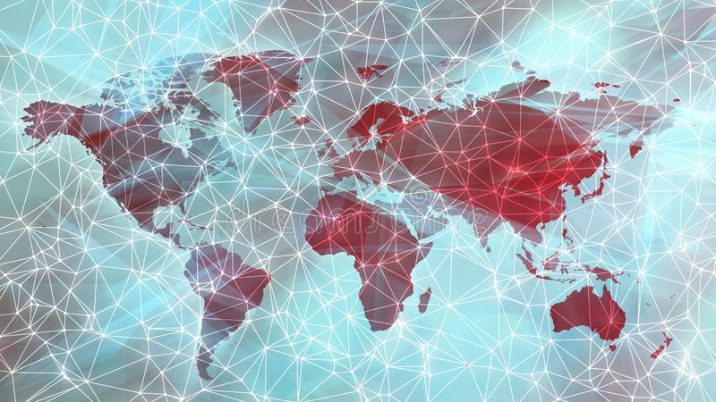Science fiction digital world abstract global technology communication. Connected dots with lines and graphic world map, creative abstract background. Global royalty free stock photography