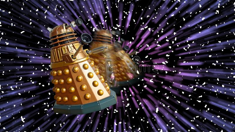 Science fiction doctor who tardis time travel space galaxy daleks dalek royalty free stock images