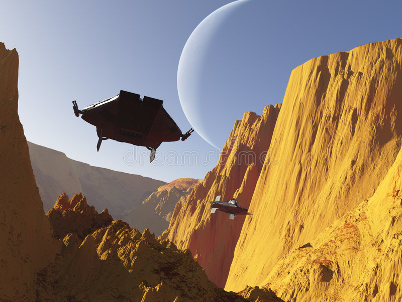 Science fiction dogfight (2) royalty free illustration