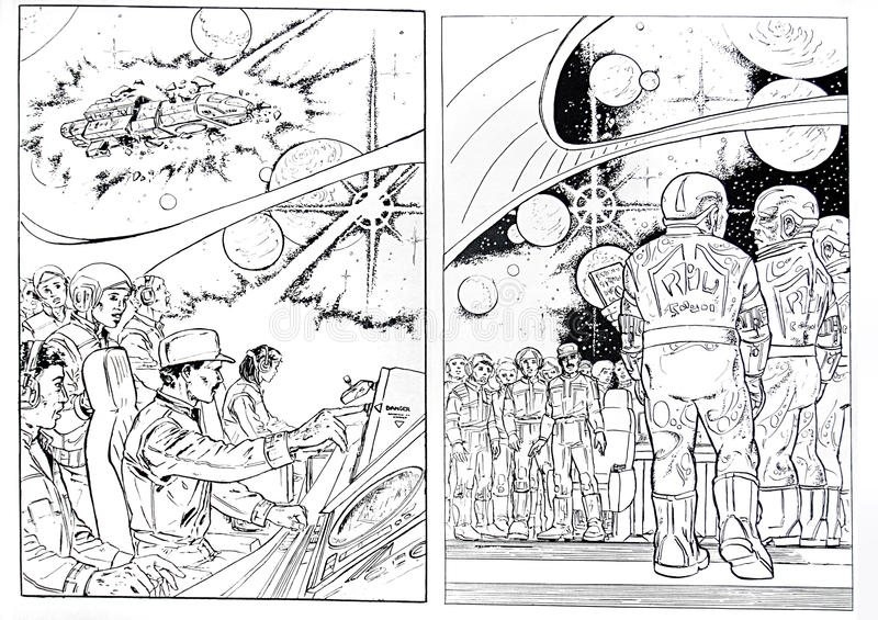 Science fiction draws. Two original science fiction draws created in 1984 stock illustration