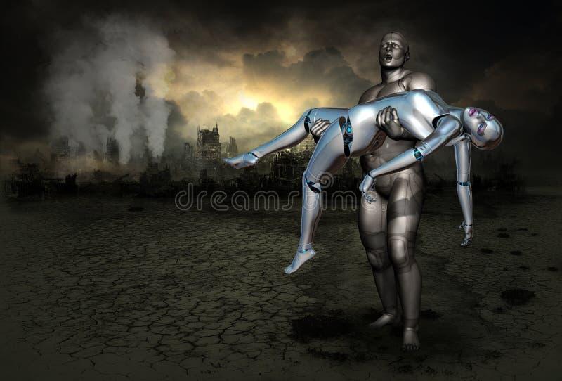 Science Fiction Fantasy Love War royalty free illustration