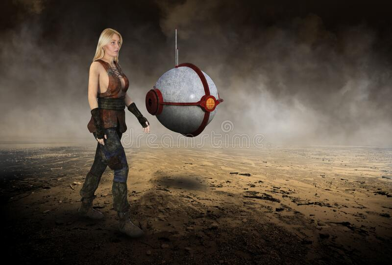 Science Fiction Woman, Robot, Desert. Science fiction fantasy scene. A beautiful young woman is walking through a desolate desert with a sci fi technology robot stock photos