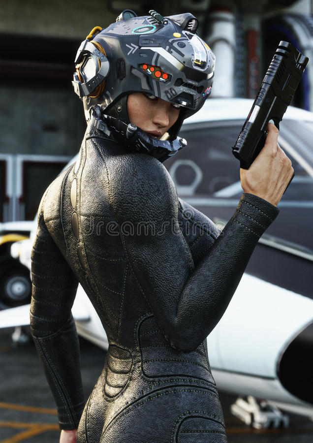 Science Fiction female pilot posing ,wearing helmet and uniform returning from a mission with space ship in background. stock illustration