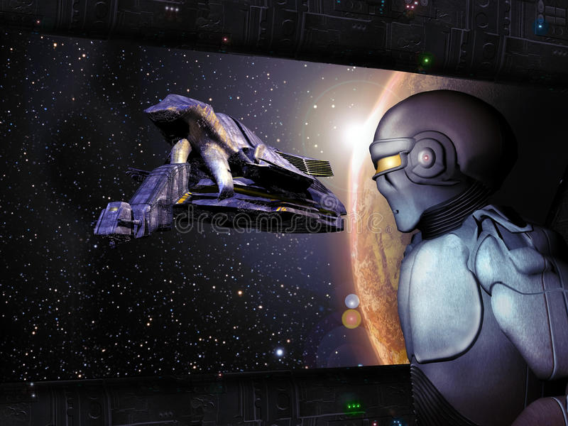 Science fiction frame. Looking through a window of a spatial station, close to a planet, a robot looks at an arriving spaceship stock illustration