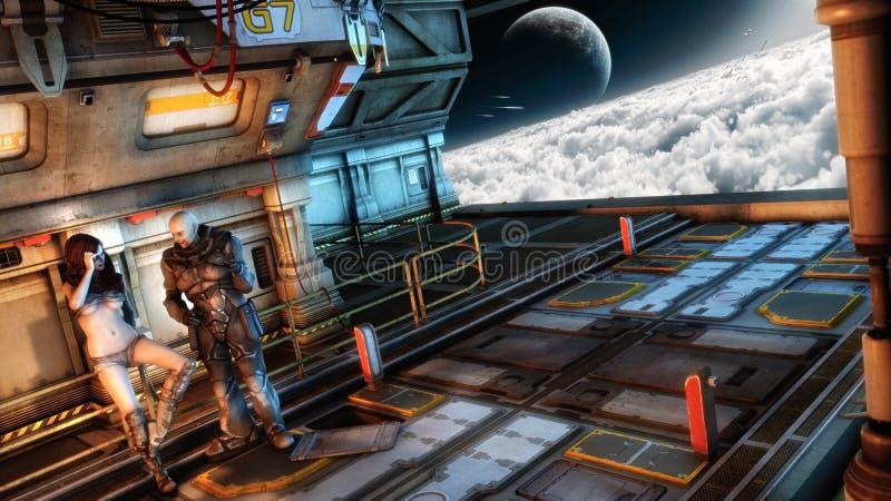 Science Fiction Interior stock illustration