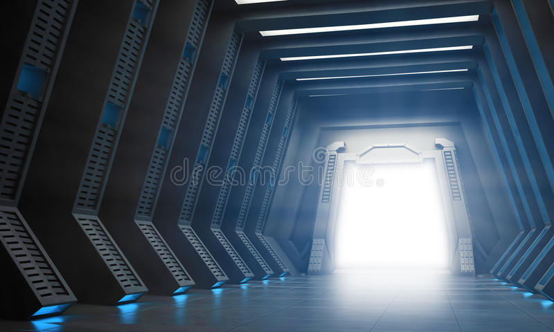 Science fiction interior. A hallway with an open gate royalty free illustration