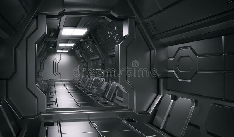Science fiction interior scene - sci-fi corridor 3d illustrations. Science background fiction interior rendering sci-fi spaceship corridors,3D rendering vector illustration